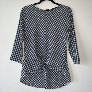 Zara Black and White Tie Front gingham Blouse